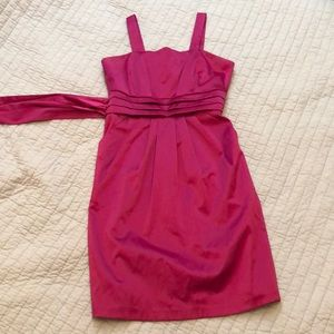 Cute Bright Pink pocketed satin dress!!